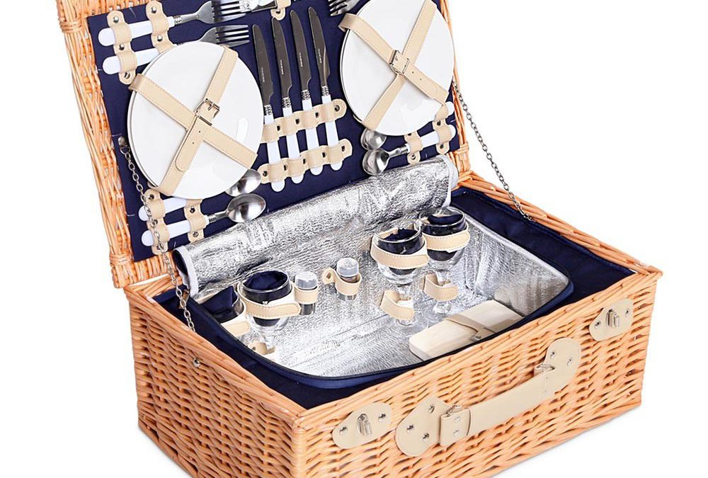 **GIFTED** Picnic Basket Set with Cooler Lining $119