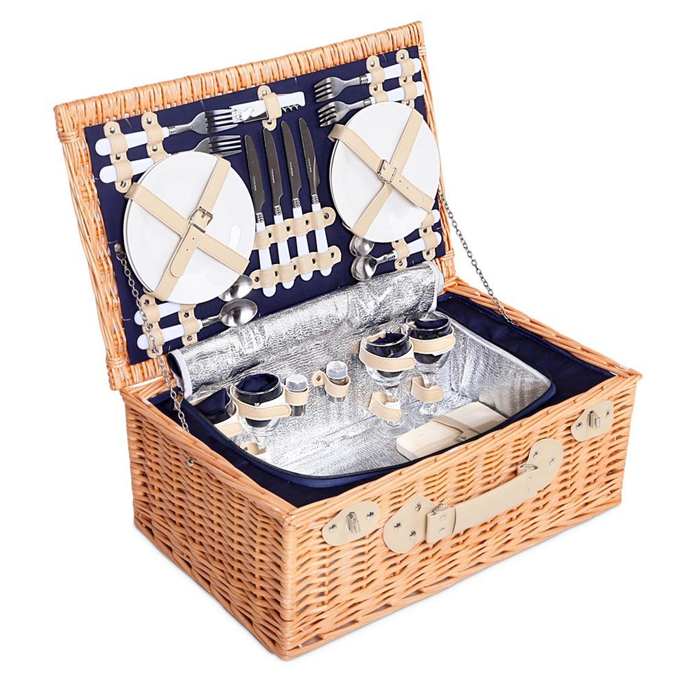 4 Person Navy Picnic Basket Set & Cooler Bag Lining